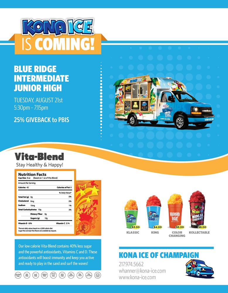 Kona Ice is coming to BRIJHS back to school night!