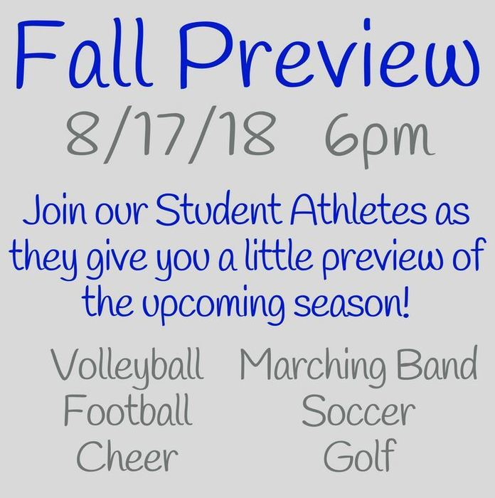 2018-2019 fall preview dates