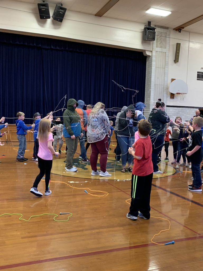 Students who raised over $150 got to silly string their teacher.