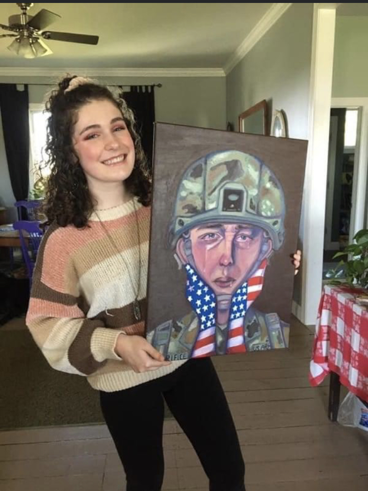 Sarah Whitehouse with her award winning painting.