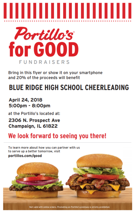 Come support the BRHS Cheerleaders at Portillo's in Champaign on Tuesday, April 24 from 5-8 p.m. Show this flyer on your phone and 20% of the proceeds go to the Cheerleaders. Thanks in advance for your support!